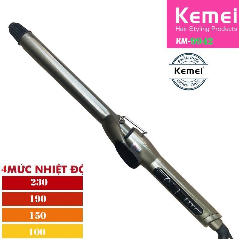 Máy làm xoăn và uốn tóc 4 mức chỉnh nhiệt Kemei 9942 loại 22mm giá rẻ