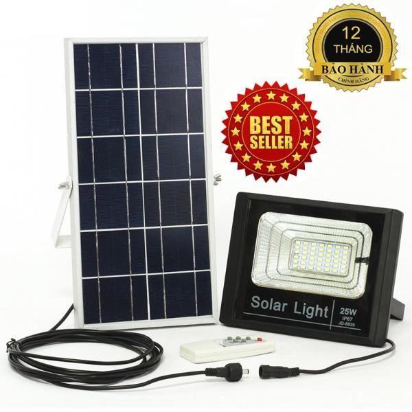 ĐÈN NĂNG LƯỢNG MẶT TRỜI SOLAR LIGHT JD-8825 công suất 25W công nghệ IP67 chống nước, Pin 9600mah, chế độ bật tắt tự động, có điều khiển từ xa