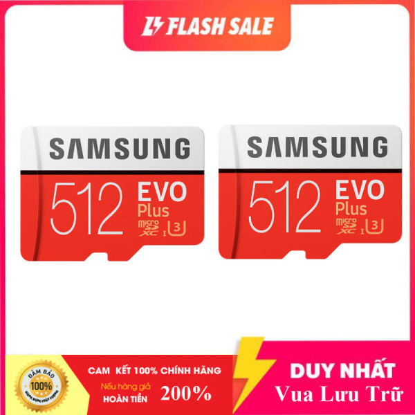 [New 2021]  Combo Giá Hot 2 Thẻ nhớ MicroSDXC Samsung Evo Plus 512GB U3 4K R100MB/s W90MB/s - box Anh New 2020 (Đỏ) + Kèm Adapter