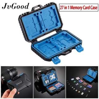 JvGood Memory Card Case SD Card Storage Box Waterproof Shockproof Protection Micro SD Card Case Holder TF SD CF Cards Carrying Case Storage Box(27 Slots)