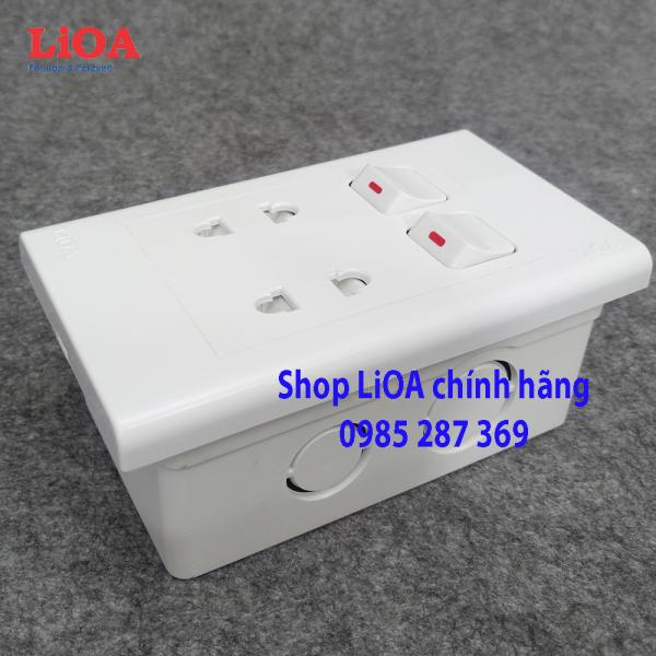 Combo ổ cắm điện đôi 2 chấu 16A (3520W) + 2 công tắc điện LiOA Âm tường giá rẻ
