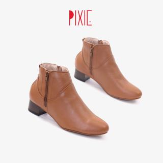 Giày Boot Thấp 3cm Cổ Ngắn 2 Dây Kéo Da Bò Thật Màu Nâu Pixie P697 thumbnail
