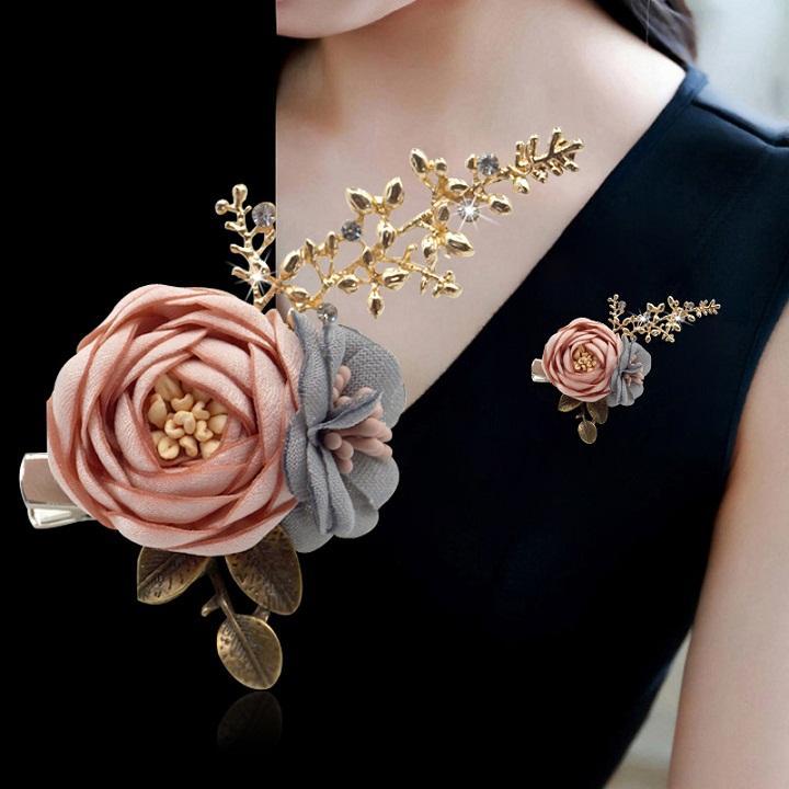 Cài áo hai bông hoa đẹp