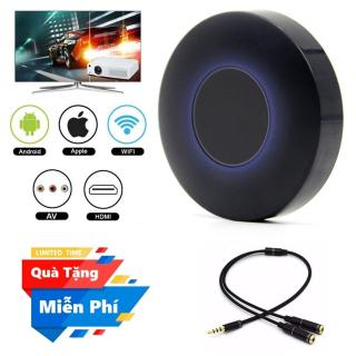 ( Quà tặng Dây chia cổng tai nghe 1 ra 2 ) Thiết bị HDMI không dây Q1 Dongle hỗ trợ kết nối cổng AV - Wifi Display Dongle Q1 - HDMI Dongle Q1 hỗ trợ HDMI và AV trình chiếu từ Smartphone lên Tivi thumbnail