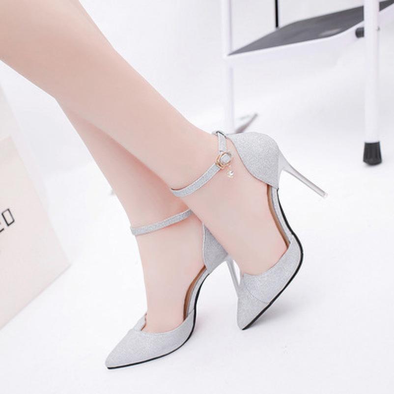 [ẢNH THẬT] Giày cao gót 8 phân bít mũi kim tuyến bạc SD28 giá rẻ