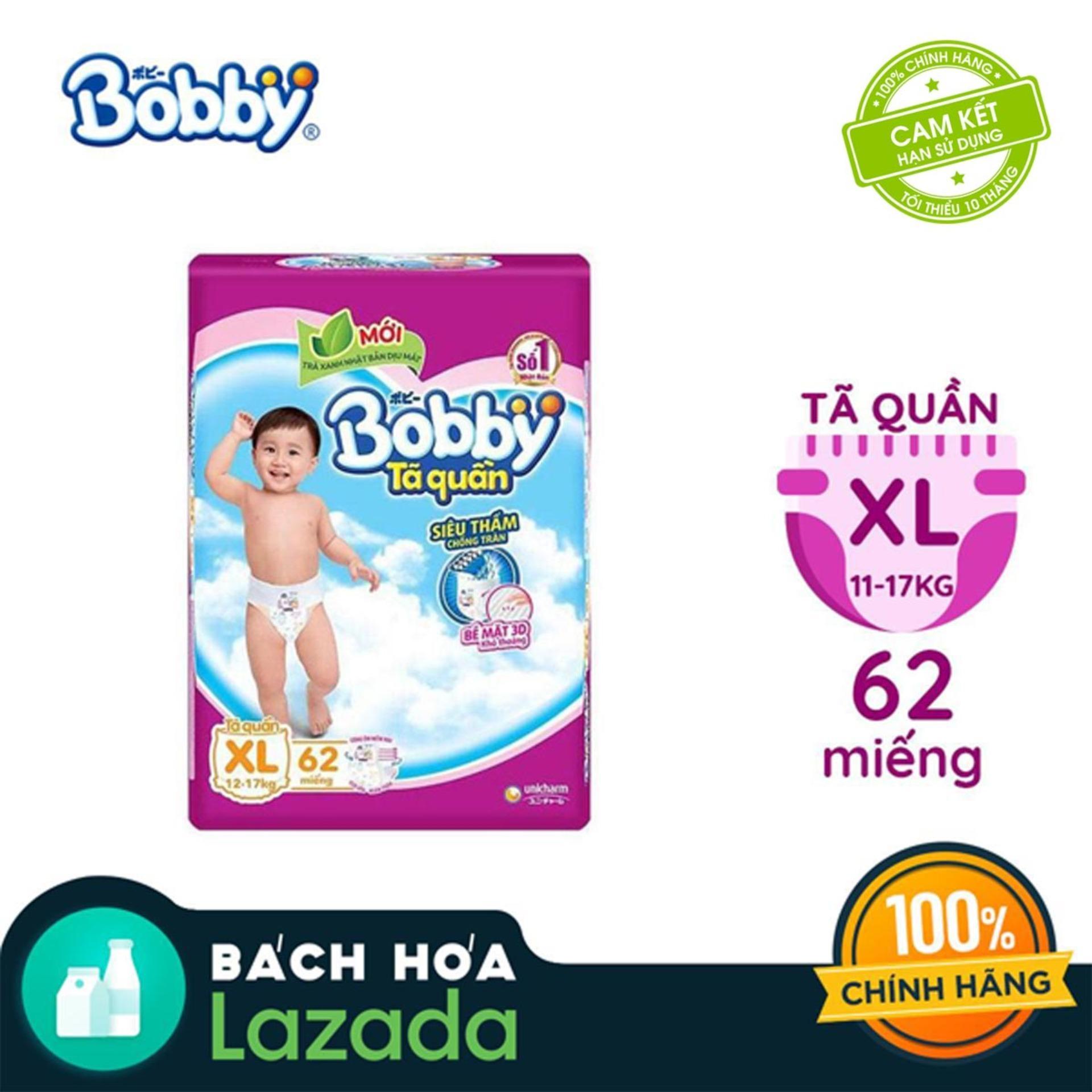 [Tiết Kiệm] Tã/Bỉm quần Bobby gói siêu siêu lớn XL-62...