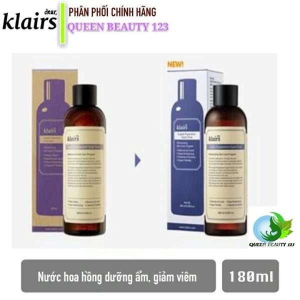Nước hoa hồng dưỡng ẩm, chống viêm cho da nhạy cảm, tổn thương Klairs Supple Preparation Facial Toner 180ml
