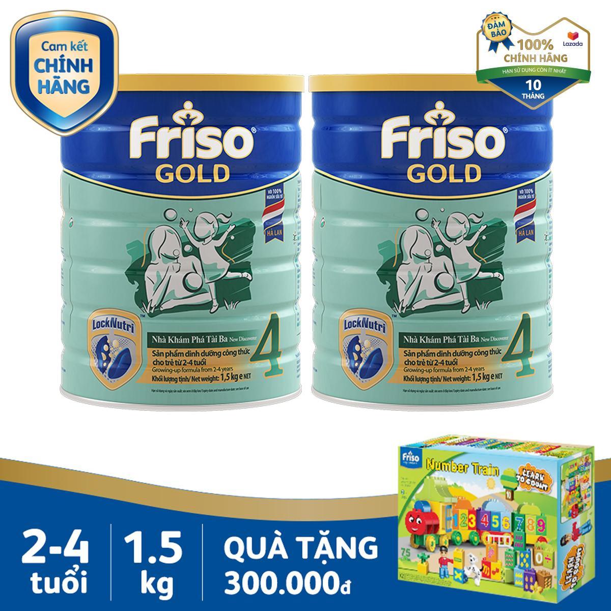 Bộ 2 Lon Sữa Bột Friso Gold 4 1.5kg Cho Trẻ Từ 2-4 Tuổi + Tặng 1 Bộ Xếp Hình Xe Lửa Trị Giá 300k - Cam Kết HSD ít Nhất 10 Tháng Với Giá Sốc