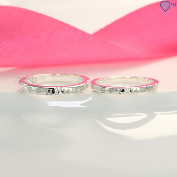 Nhẫn cặp đôi bạc giá rẻ khắc tên theo yêu cầu ND0364 - Nhẫn đôi bạc TNJ
