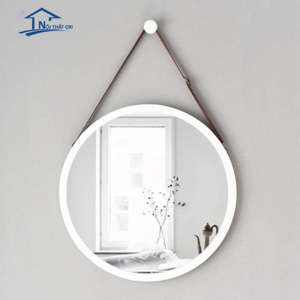Gương tròn trang trí màu trắng đường kính 60cm kèm dây treo