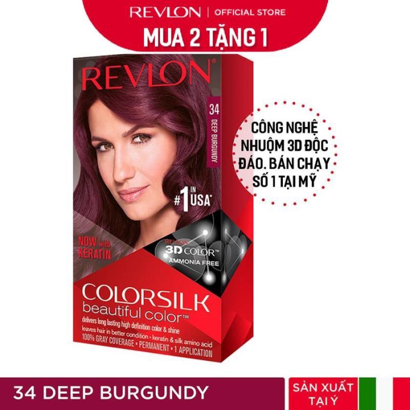 [Mua 2 tặng 1] Nhuộm tóc thời trang Revlon Colorsilk 3D - 34 Deep Burgundy - Đỏ R.ượu + Tặng 01 Khẩu Trang cao cấp