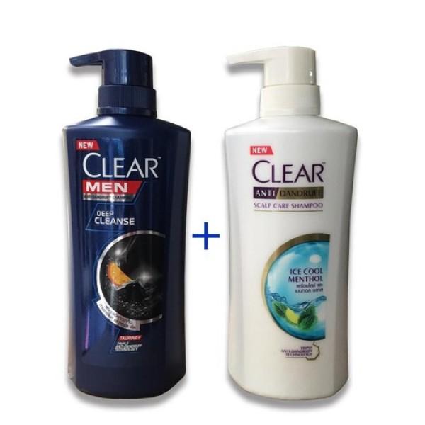 [1 CẶP] Bộ dầu gội Clear Men  sport menthol  450ml và Clear bạc hà 450ml Thái Lan mới giá rẻ