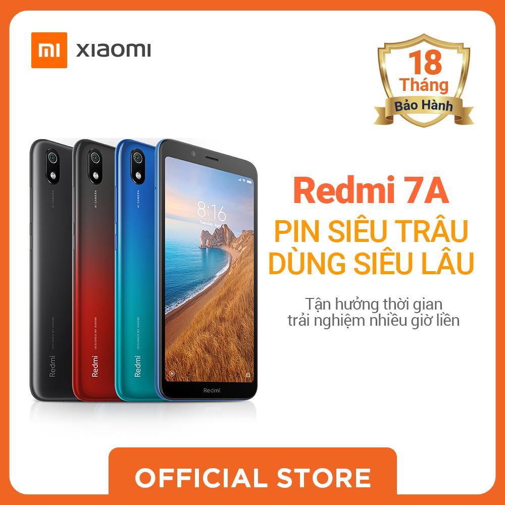 Xiaomi official Điện Thoại Redmi 7A, 2GB/16GB Đen/ Xanh Dương_ Hàng chính hãng, Bảo hành điện tử 18 tháng.