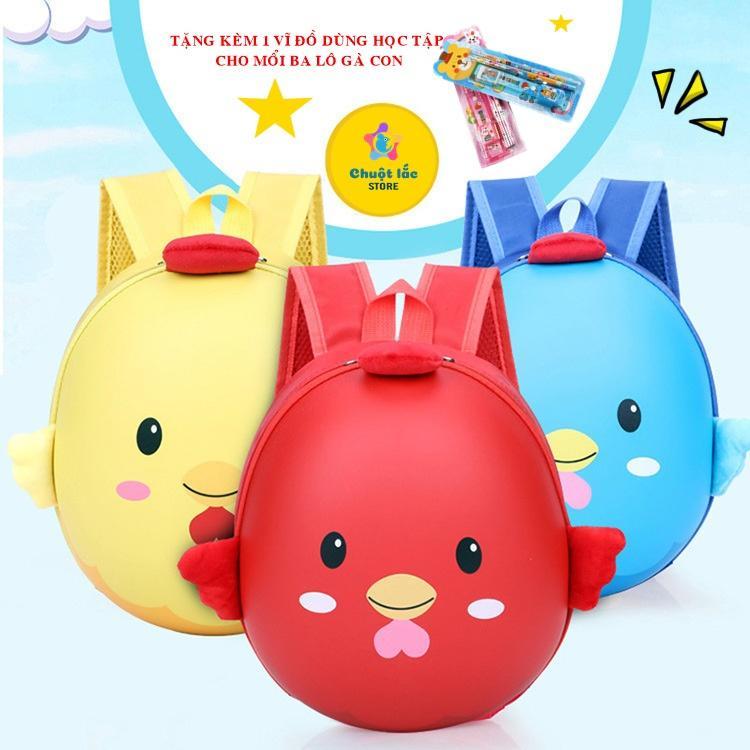 Giá bán Ba lô cho bé, ba lô học sinh, ba lô mẫu giáo, ba lô hình gà con ngộ nghĩnh [TẶNG KÈM VĨ ĐỒ DÙNG HỌC TẬP] cho bé (màu vàng, màu đỏ, màu xanh, màu hồng) [Chuột Lắc Store]