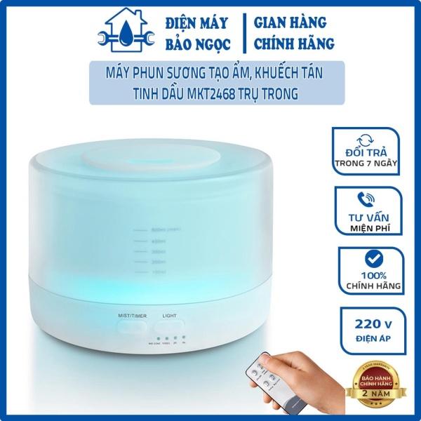Máy phun sương tạo ẩm, khuếch tán tinh dầu MKT2468 Trụ Trong, dung tích 550ML, có điều khiển, đèn led 7 màu, BH 3 tháng