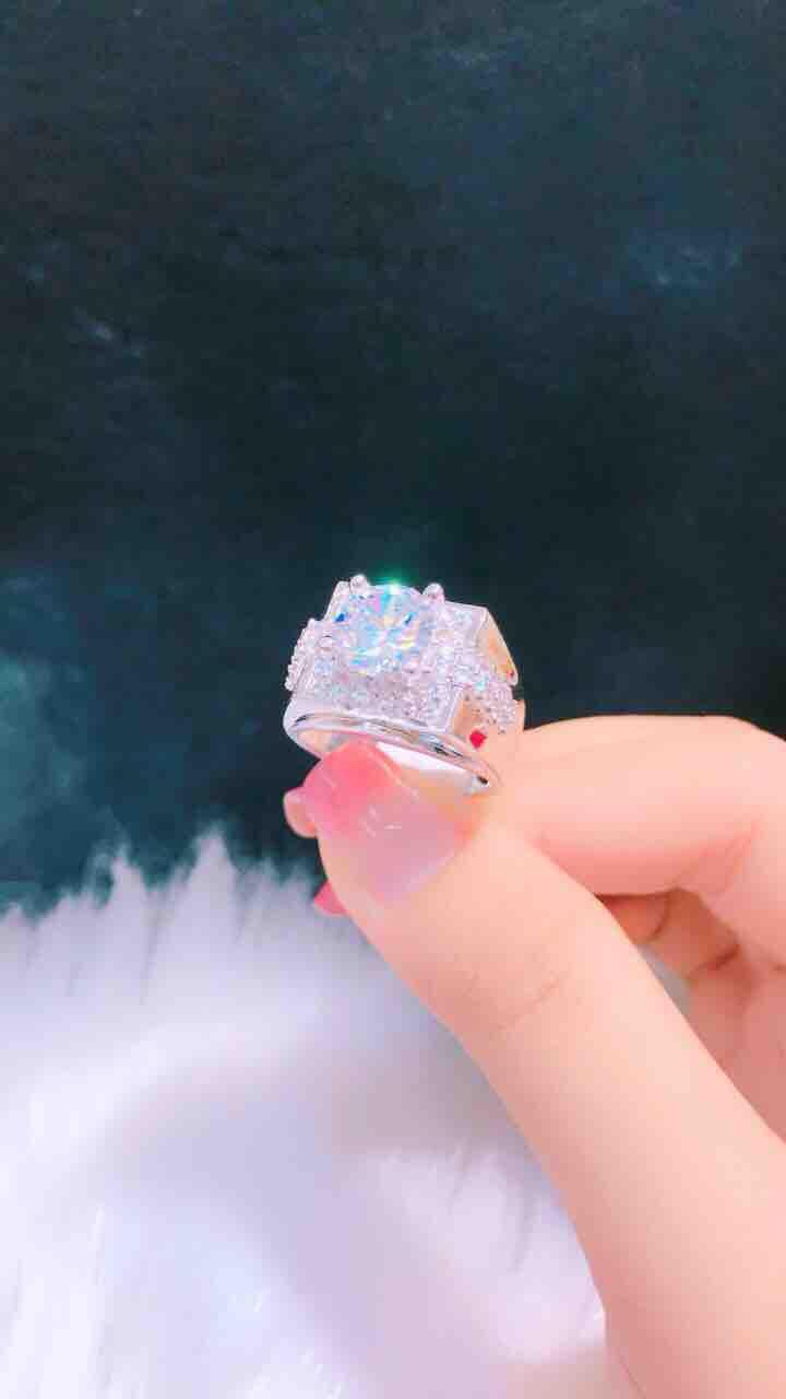 Nhẫn nam cao cấp mạ bạch kim mạ vàng 18k đính kim cương nhân tạo cực sang