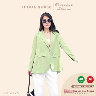 Áo khoác vest blazer túi nấp tay dài xẻ tà sau xanh bơ THOCA HOUSE hàng mới độc đáo, kiểu dáng hiện đại thumbnail