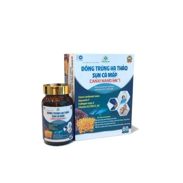 [60 Viên] Viên Uống Đông Trùng Hạ Thảo Sụn Cá Mập Canxi Nano MK7- Bổ Sung Glucosamin Hỗ Trợ Giảm Thoái Hóa Khớp, Viêm Khớp