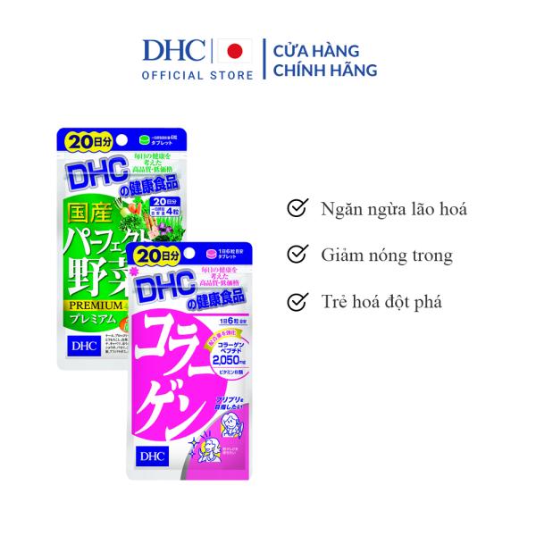 Combo Viên uống DHC Trẻ hoá da 20 Ngày (Rau Củ & Collagen) giá rẻ