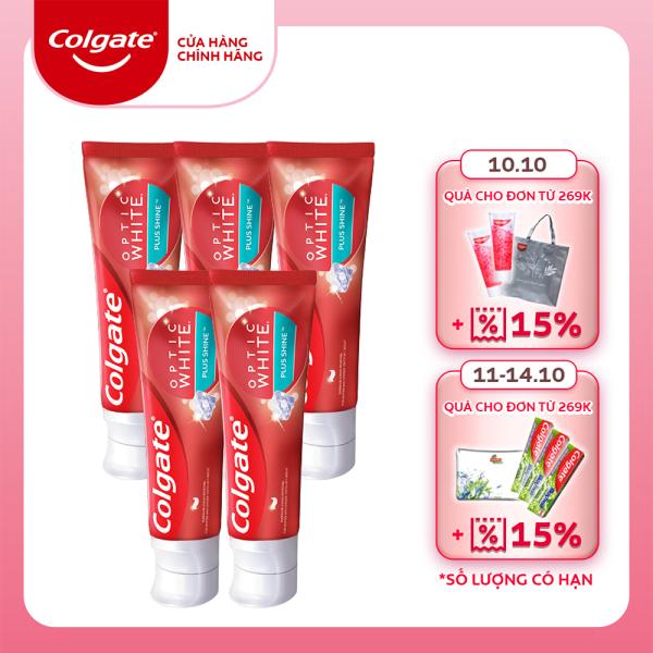 Bộ 5 Kem đánh răng Colgate Optic White Plus Shine làm trắng răng & sáng răng 100g