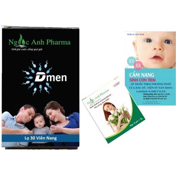 Combo 1 hộp muối kiềm Ngọc Ánh + 1 hộp Dmen tăng cường chất lượng tinh trùng cao cấp