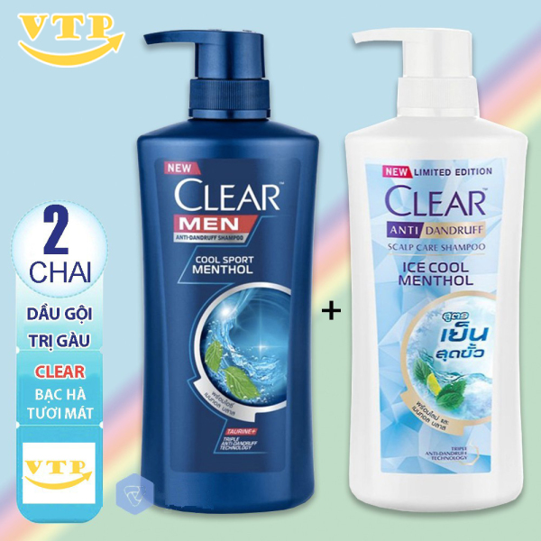 Combo 2 Chai Dầu Gội Clear Bạc Hà 480ml Và Clear Men 450ml nhập khẩu