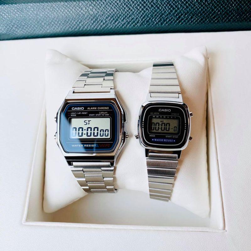 Đồng hồ đôi Casio B650 và La670 Silver - CHINH HÃNG - FULLBOX