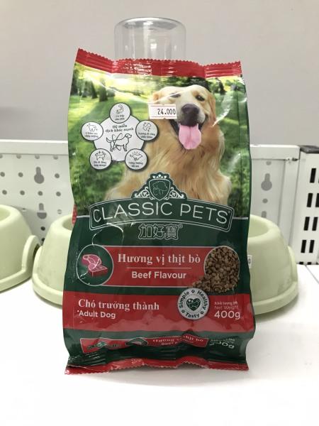 Hạt khô dành cho chó Classic Pets 400g hương thịt bò