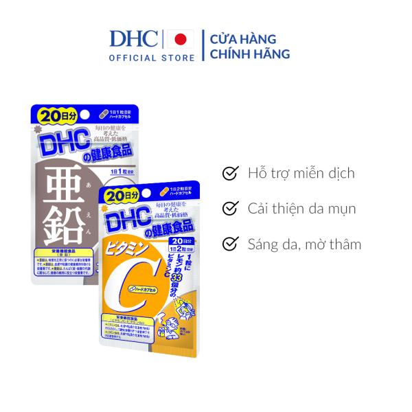 Combo Viên uống DHC Giảm mụn - Mờ thâm 20 Ngày (Kẽm & Vitamin C)