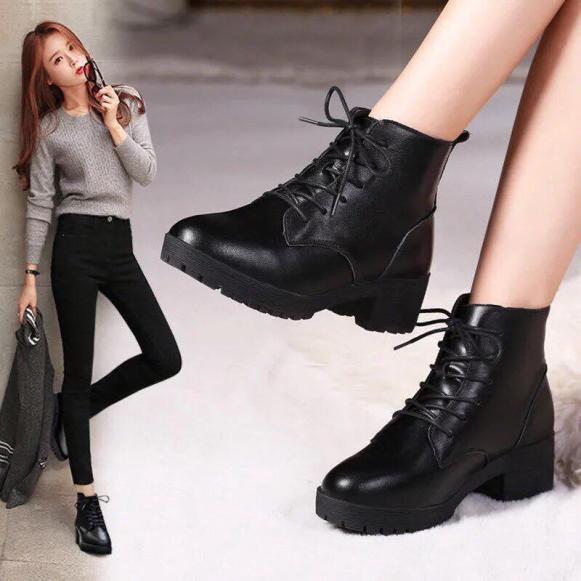 Giày Bốt nữ cổ cao hàng QC full box giá rẻ