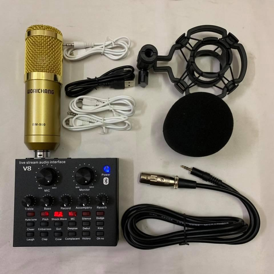 combo bộ míc thu âm livestream micro BM 900 V8 BLUETHOOTH có auto tune phiên bản tiếng anh nhé