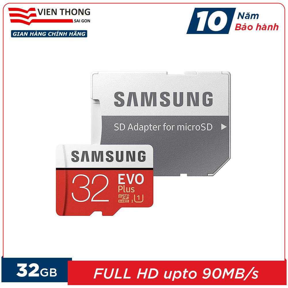 Thẻ Nhớ 32GB MicroSDHC Samsung Evo Plus Upto 95MB/s U1 Kèm Adapter (Bảo Hành 10 Năm) - Hãng Phân Phối Chính Thức (PT) Giá Tốt Nhất Thị Trường