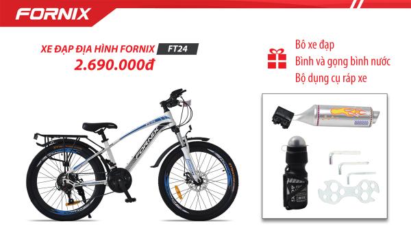 Mua [Có video] XE ĐẠP ĐỊA HÌNH FORNIX FT24 (Kèm bộ dụng cụ lắp láp)+ (Gift) Pô xe đạp + Bình và gọng bình nước