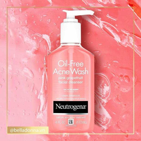 Sữa Rửa Mặt Neutrogena Oil-Free Acne Wash Pink Grapefruit Facial Cleanser 177ml - Tạm Biệt Mụn
