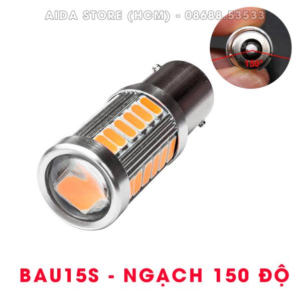 01 bóng đèn xi nhan chuẩn 1156 BAU15S ngạch 150 độ (Thấu kính - Vàng cam)