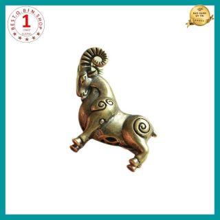 Tượng đồng mini tuổi Dê bằng đồng thau chế tác thủ công dùng để trang trí bàn làm việc oto đem lại may mắn tài lộc thumbnail