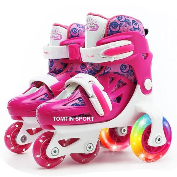 Giá bán Giày patin 3 hàng bánh có đèn led dễ đi cho bé từ 2-5 tuổi tặng kèm bảo hộ chân tay [TOMTIN SPORT]