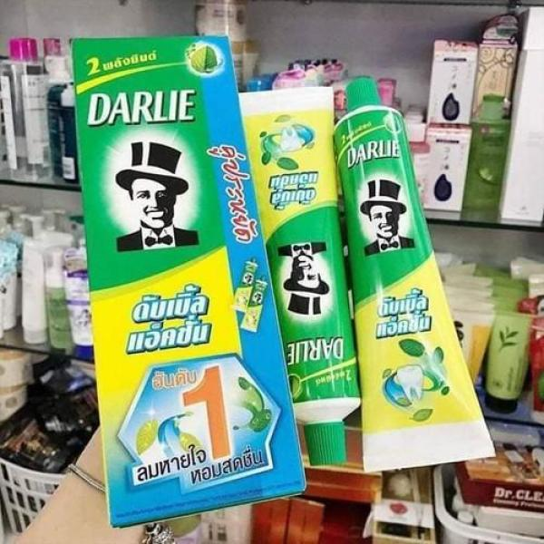 Hộp 2 tuýp Kem đánh răng ông tây đen Darlie bạc hà Thái Lan (170gx2)