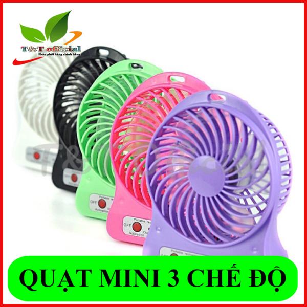 Quạt mini pin sạc cầm tay 3 chế độ có đèn pin - Hàng Loại 1