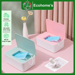 Hộp đựng khẩu trang khăn giấy Ecohome s, hộp đựng khăn giấy có nắp đậy thiết kế thẩm mỹ đẹp mắt chất liệu nhựa PP cao cấp chịu bền cao an toàn cho người sử dụng ( tặng kèm miếng dán tường ) thumbnail