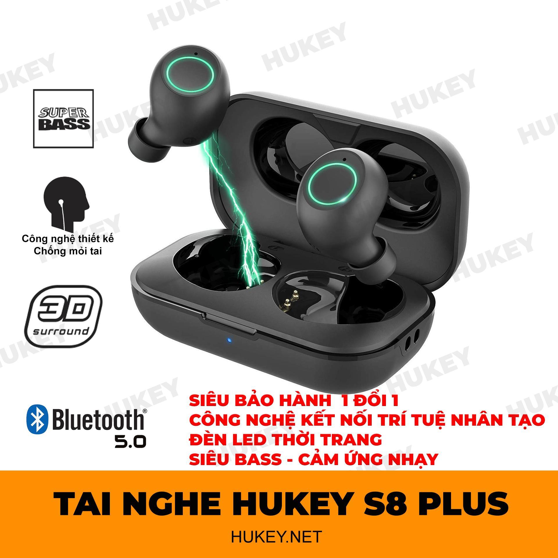 Tai Nghe Bluetooth Không Dây Hoàn Toàn Hukey S8 Plus - Kết Nối Công Nghệ Thông Minh Trí Tuệ Nhân Tạo- Siêu Nhỏ - Siêu Bass - đèn LED Cực Thời Trang Đang Giảm Giá