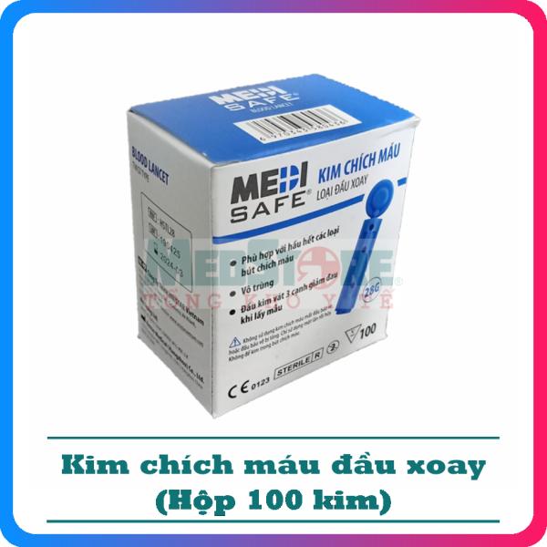 Hộp 100 kim lấy máu tiểu đường MEDISAFE - TBYT Medstore - kim chích máu đường huyết cao cấp