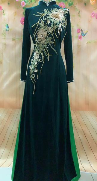 Áo dài NHUNG ÁO DÀI bà sui - áo dài dự tiệc -ÁO DÀI CHO MẸ - MÀU XANH VECHAI -SANG TRỌNG- ẢNH THẬT