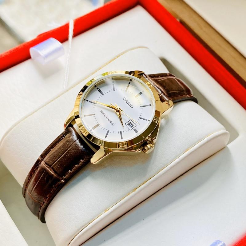 Đồng hồ Nữ CASIO LTP-V004GL-7AUDF Dây da nâu - Hàng Chính Hãng