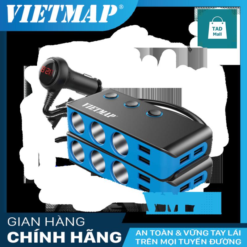 VietMap VM71 - Bộ Chia Nguồn Ô tô - QC 3.0 - An Toàn Cao Cấp - 3 Cổng Nguồn - 4 Cổng Sạc USB