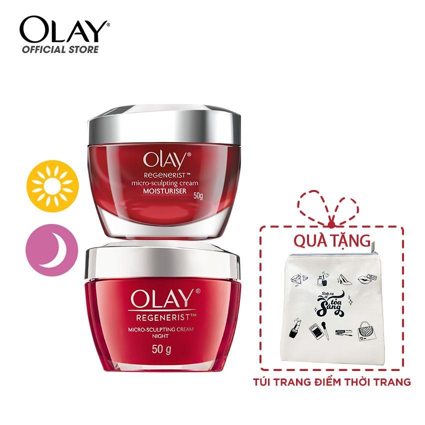 Combo dưỡng da ngày và đêm Olay Regenerist - tặng Túi trang điểm thời trang