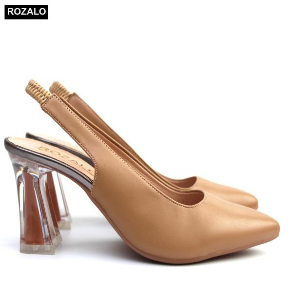 Sandal bít mũi cao gót 7P quai pha chun Rozalo R5370 giá rẻ