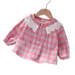 DIIMUU 1-5 Y Trẻ Em Quần Áo, Cô Gái Áo Sơ Mi Áo Cotton, Toddler Dài Tay Áo Áo Sơ Mi