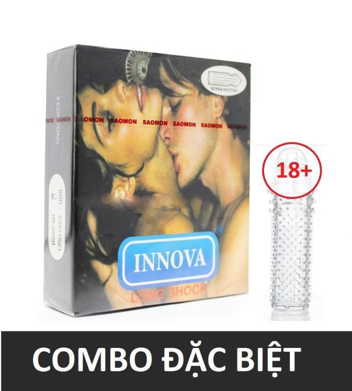 Combo 1 hộp Bao cao su gân gai kéo dài thời gian INNOVA 3 chiếc tặng 1 bcs đôn dên dùng nhiều lần cao cấp