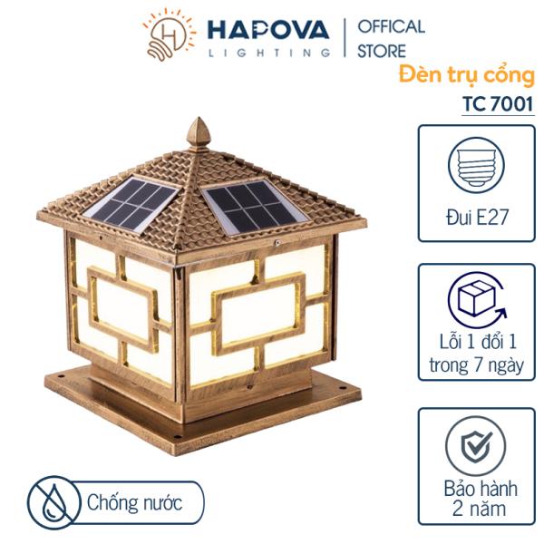 Bảng giá Đèn led năng lượng mặt trời siêu sáng đèn trụ cổng năng lượng mặt trời cỡ 400mm HAPOVA TC 7001